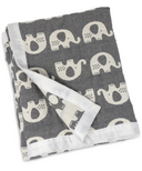 Living Textiles Cotton Muslin Jacquard Blanket Grey Elephant