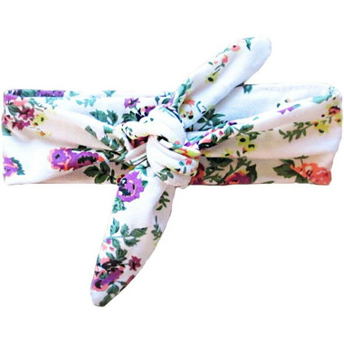 Baby Wisp Top Knot Headband White Floral Print