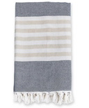 Lulujo Turkish Towel Classic Navy and Oatmeal
