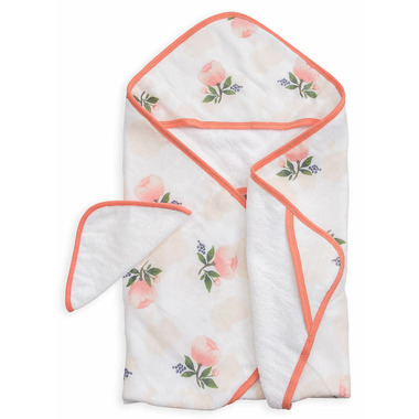 Little Unicorn Cotton Hooded Towel & Wash Cloth Set Watercolour Rose