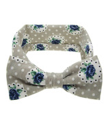 Baby Wisp Big Bow Headband Prairie Grey & Blue Flowers