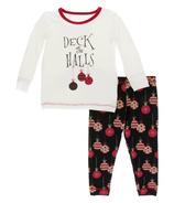 Kickee Pants Print Long Sleeve Pajama Set Natural Deck the Halls