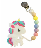 Loulou Lollipop Rainbow Unicorn Teether with Cotton Candy Clip