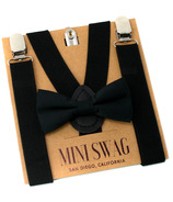 Mini Swag Solid Black Bow Tie & Suspenders Set