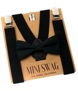 Mini Swag Solid Black Bow Tie & Suspenders Set