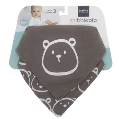 Kushies Bandana Bib Grey Bear