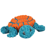 Hugglehounds Plush Durable Rubber Ruff-Tex Turtle Orange/Teal Dog Toy