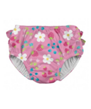 iPlay Ruffle Snap Reusable Absorbent Swimsuit Diaper Light Pink Daisy Fruit