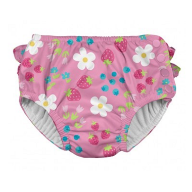iPlay Ruffle Snap Reusable Absorbent Swimsuit Diaper Light Pink Daisy Fruit