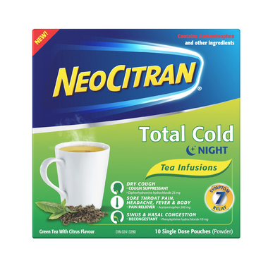 NeoCitran Total Cold Night-time Green Tea
