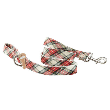 Mud Pie White Tartan Dog Leash