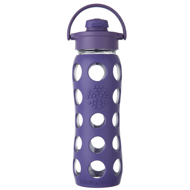 Lifefactory Glass Bottle Purple Flip Cap & Silicone Sleeve