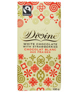 Divine Chocolate Fairtrade White Chocolate with Strawberries