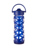 Lifefactory Glass Water Bottle with Axis Straw Cap & Sapphire Sleeve