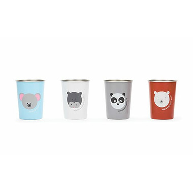 Red Rover Stainless Steel Cups with Animals