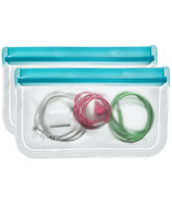 re(zip) Lay-Flat Reusable Snack Bags Aqua