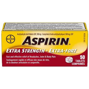 Aspirin 500 mg Extra Strength Tablets Small Bottle