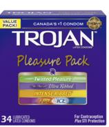 Trojan Pleasure Pack Stimulating Variety of Lubricated Latex Condoms