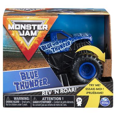 Monster Jam Official Blue Thunder Rev \'N Roar Monster Truck 1:43 Scale