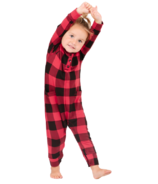 Smash + Tess The Mini Present Plaid Romper in Red Buffalo Check