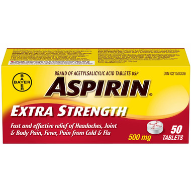 Aspirin 500 mg Extra Strength Tablets Small Bottle