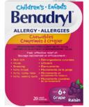 Benadryl Children's Allergy Symptom Relief Chewables Grape