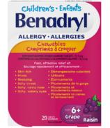 Raisins à croquer pour le soulagement des symptômes d'allergies des enfants de Benadryl