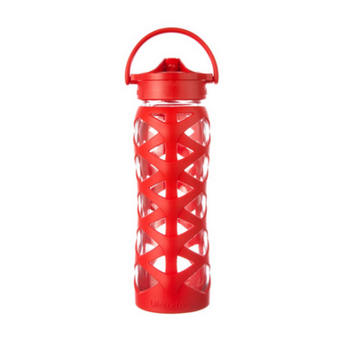 Lifefactory Glass Water Bottle with Axis Straw Cap & Charge Red Sleeve