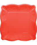 Elise Embossed Square Banquet Plate Coral Red