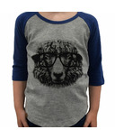 L&P Apparel 3/4 Sleeve Shirt Heather Grey & Navy Sheep