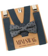 Mini Swag Gray Dot Bow Tie & Dark Gray Suspenders Set