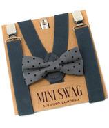 Mini Swag Gray Dot Bow Tie & Dark Gray Suspenders Set