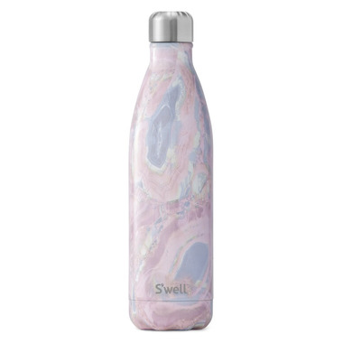 S\'well Pink Marbled Collection Stainless Steel Water Bottle Geode Rose