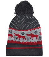 Little Blue House Heritage Adult Pom Pom Winter Hat Red Moose