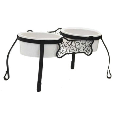 Robely Bistro Bone Metal Double Elevated Pet Feeder with Ceramic Bowls