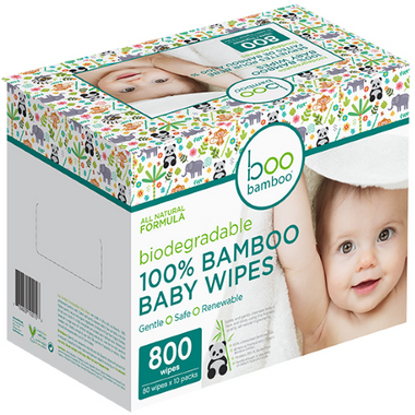 Boo Bamboo Baby Biodegradable 100% Bamboo Wipes Value Box
