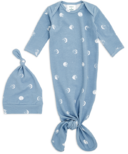 aden + anais Comfort Knit Blue Moon Gown + Hat Set 0-3M