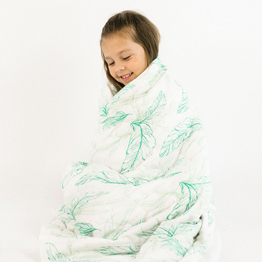 Nest Designs Quilted Bamboo Cozy Blanket Leaves Green Small