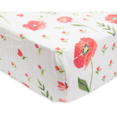 Little Unicorn Brushed Crib Sheet Summer Poppy