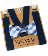 Mini Swag Light Blue Plaid Bow Tie & Navy Suspenders Set