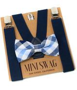 Mini Swag Light Blue Plaid Bow Tie & Navy Suspenders Set