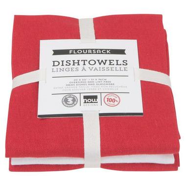 Now Designs Floursack Teatowel Set Red & White