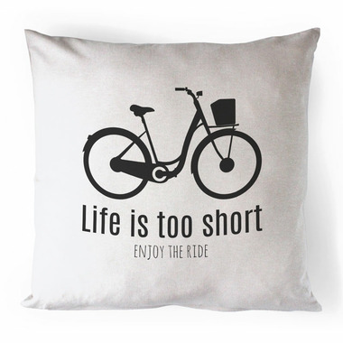 Printing Life Canada Life Is Too Short Black Canvas Pillow