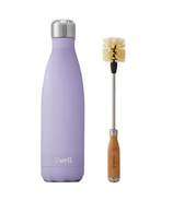 S'well Purple Garnet Stainless Steel Water Bottle + Bottle Brush Bundle