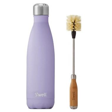 S\'well Purple Garnet Stainless Steel Water Bottle + Bottle Brush Bundle