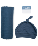 Lulujo Hello World Blanket & Knotted Hat Navy