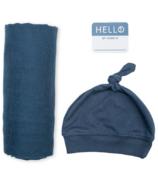 Lulujo Hello World Blanket & Chapeau à nœuds Marine