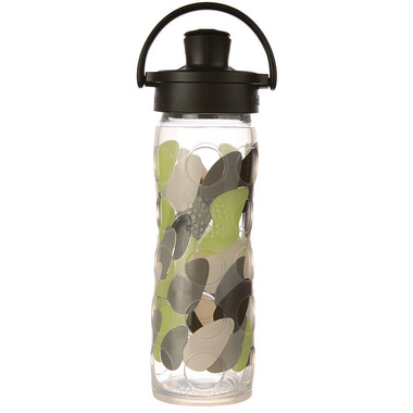 Lifefactory Glass Bottle with Active Flip Cap & Silicone Sleeve Green Envy