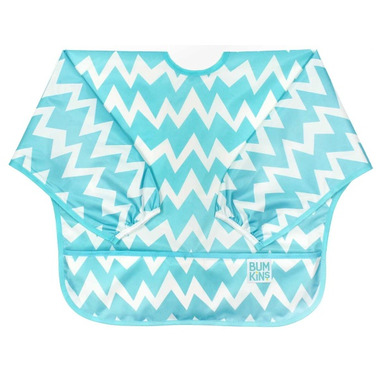 Bumkins Sleeved Bib Blue Chevron