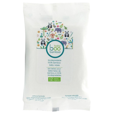 Boo Bamboo Baby Biodegradable 100% Bamboo Wipes Travel Size